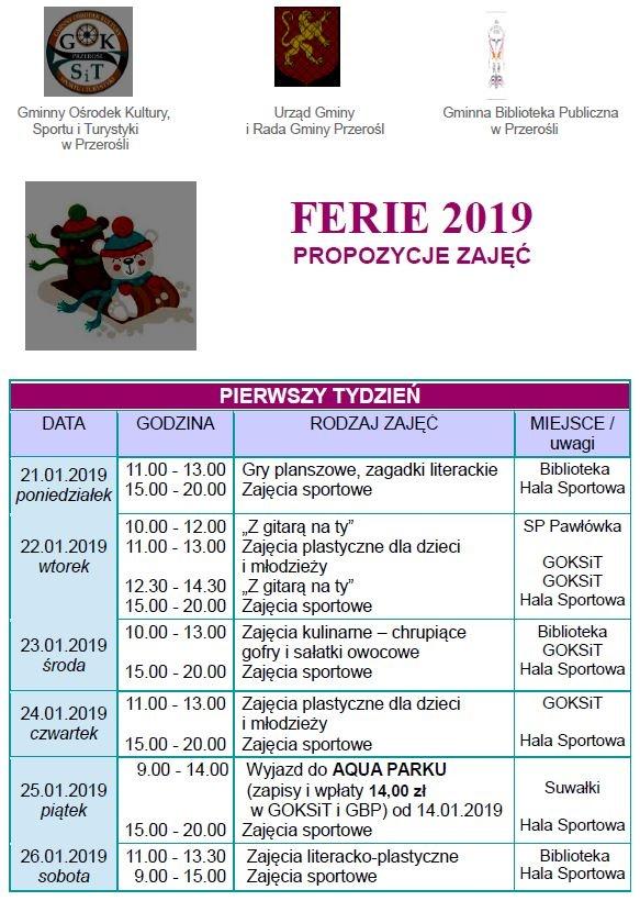 Propozycje zajęć podczas ferii 2019