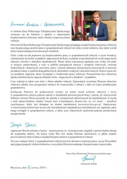 List Prezes KRUS dr Aleksandry Hadzik do Rodziców, Opiekunów i Dzieci