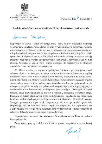 Apel Prezesa KRUS dotyczący zachowania bezpieczeństwa podczas żniw