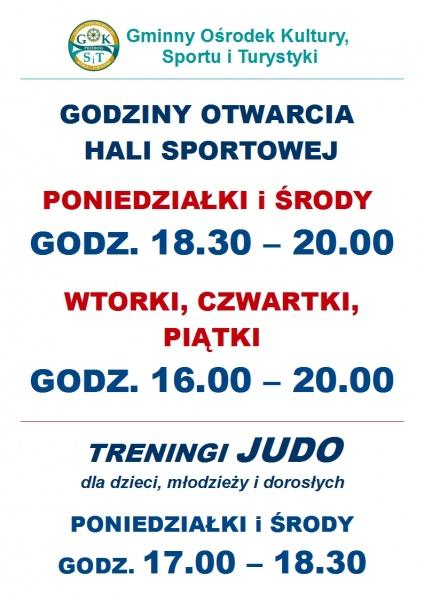 Godziny otwarcia hali sportowei i zajęcia Judo