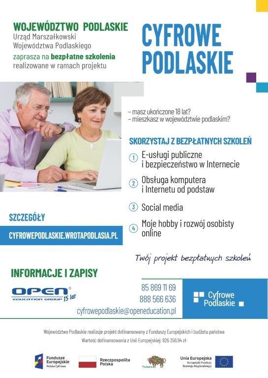 Bezpłatne szkolenia dla mieszkańców województwa podlaskiego